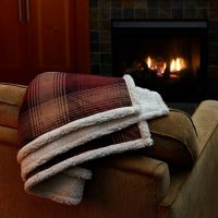 Cottage Plaid Throw in front of fire