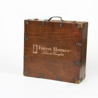 Antique Wood Suitcase Box packaging by Kanata Blanket