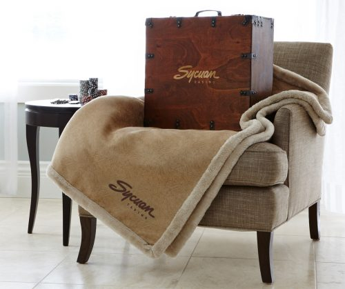 Buckskin Throw new with antique suitcase box