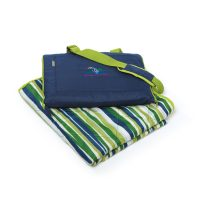 Stadium Seat Picnic Blanket with Navy and Green Stripes by Kanata Blanket