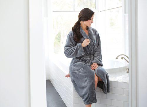 Plush Lounge Robe – SilverGray